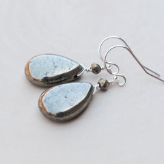 AS SEEN ON TV (BONES): Pyrite Smooth Drop Earrings