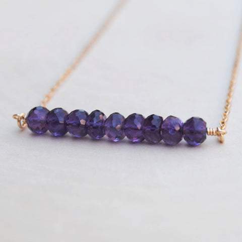 Amethyst Bead Bar Necklace