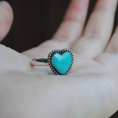 RESERVED: Turquoise heart ring (size 8) and stud earrings