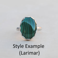 RESERVED: Malachite Necklace, Larimar Ring