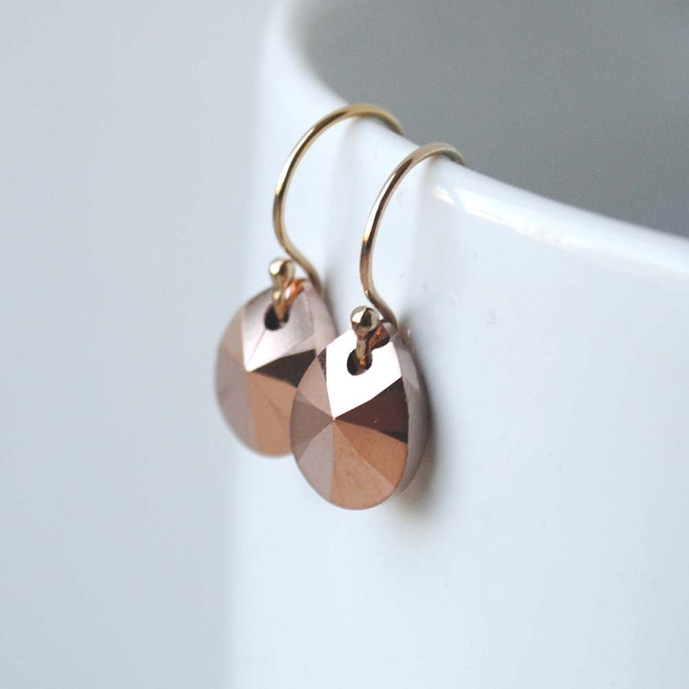 Rose Gold Swarovski Drop Earrings