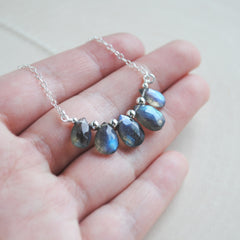 Labradorite Drop Bib Necklace