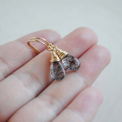 Smooth Tourmalinated Quartz Earrings