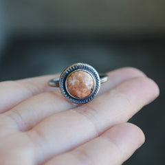RESERVED: White Ocean Jasper Ring (DEPOSIT)