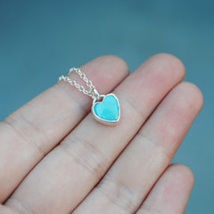 RESERVED: 8mm Turquoise Heart Necklace