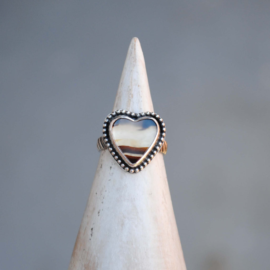 RESERVED: Montana Agate Heart Ring