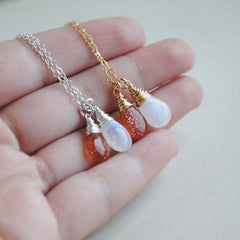 Duo Necklace - Moonstone & Sunstone