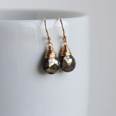 Faceted Pyrite Drop Earrings