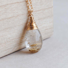 Golden Rutilated Faceted Drop Necklace