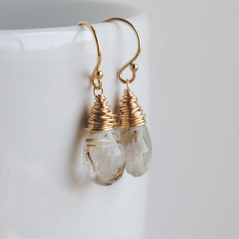 Golden Rutilated Faceted Drop Earrings