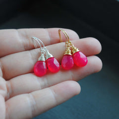 Hot Pink Chalcedony Faceted Drop Earrings