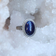 RESERVED: Round Lapis Ring Size 8
