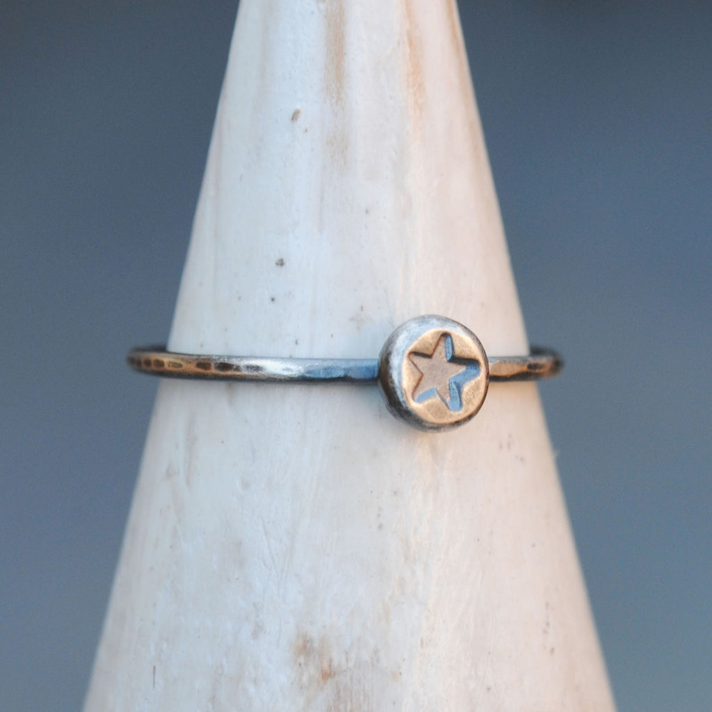 SALE: Hammered Star Stacking Ring, Sizes 6/8/9.25