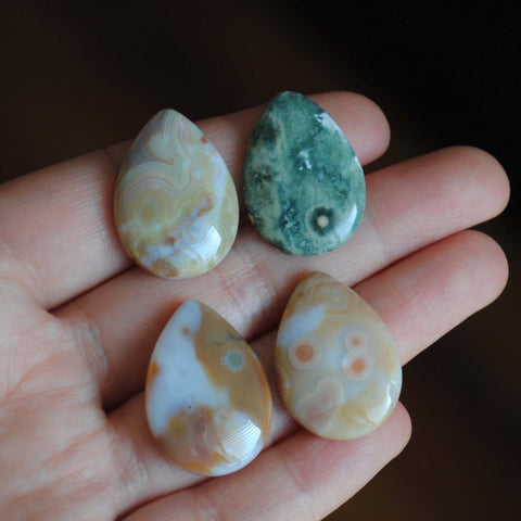 25 x 18mm drop Ocean Jasper cabochons