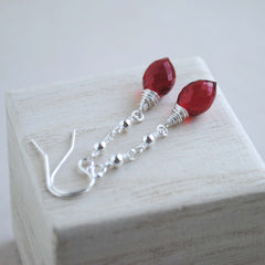Ruby Red Quartz Dew Drop Earrings