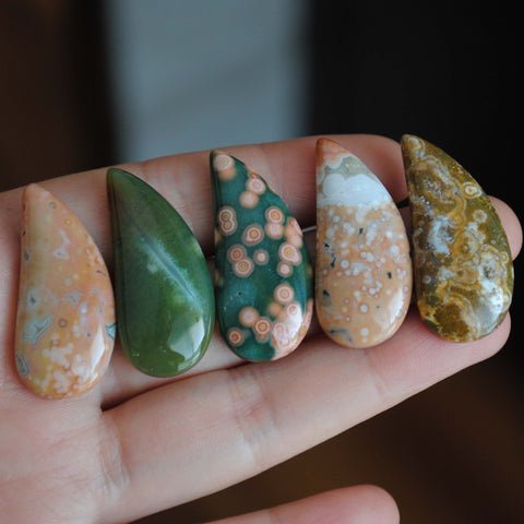 33 x 15mm comma Ocean Jasper cabochons