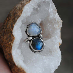 RESERVED: Moonstone Labradorite Double Stone Ring