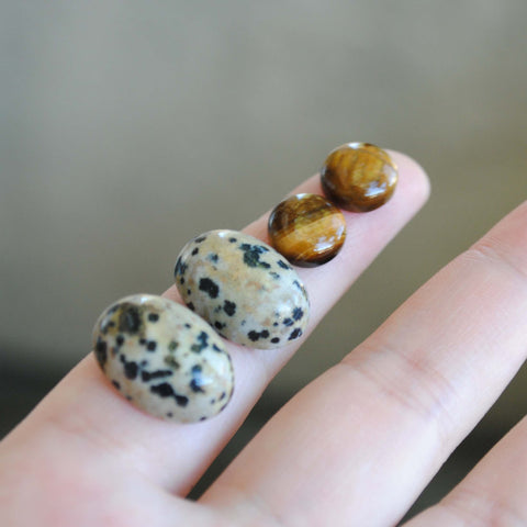 Dalmation jasper and tiger eye cabochons