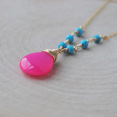 Turquoise and Hot Pink Chalcedony Necklace