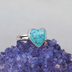 RESERVED: Turquoise Heart Ring Size 6
