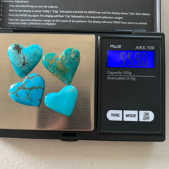 Kingman turquoise heart cabochons