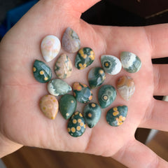 14x10mm drop Ocean Jasper cabochons (Lot A)