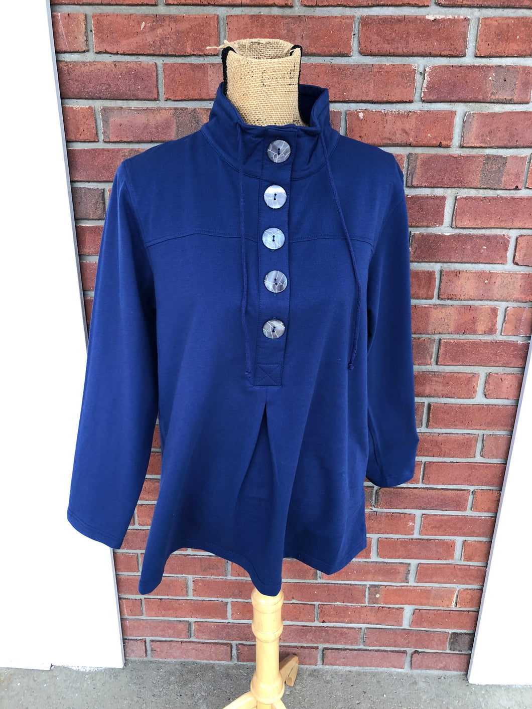 Five Button Pullover Tunic in Navy