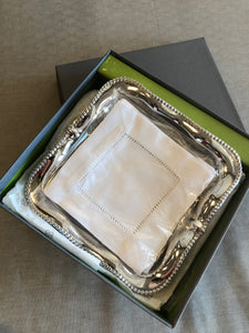Silver pearl cocktail napkin holder