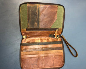 Leather and Canvas Phone Bag