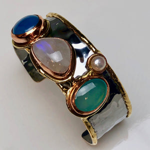 Semiprecious Stone and Metal Cuff Bracelet