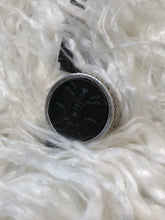 Load image into Gallery viewer, Silver Swarovski Ring w/Black Abeille Medallion