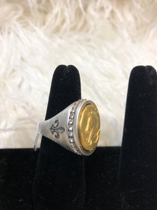 Silver Swarovski Signet Ring w/14K Gold Colonies Medallion