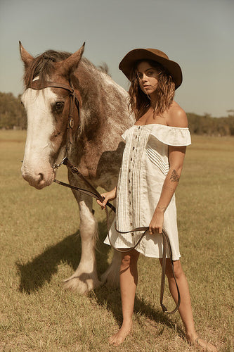 LINEN OFF SHOULDER DRESS GYPSY TRADER