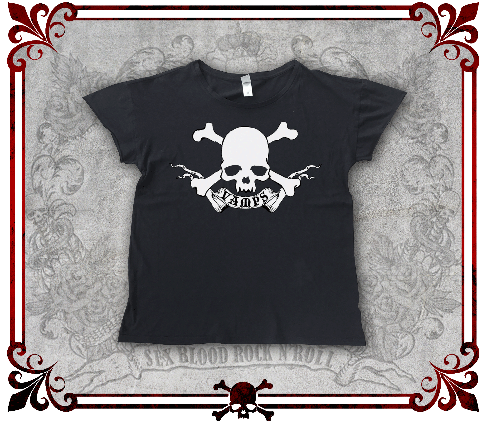 VAMPS Skull Rocker T-Shirt (Women's)/VAMPS スカル ロッカーTシャツ(女性用)/Camiseta con calavera de VAMPS (Mujer)