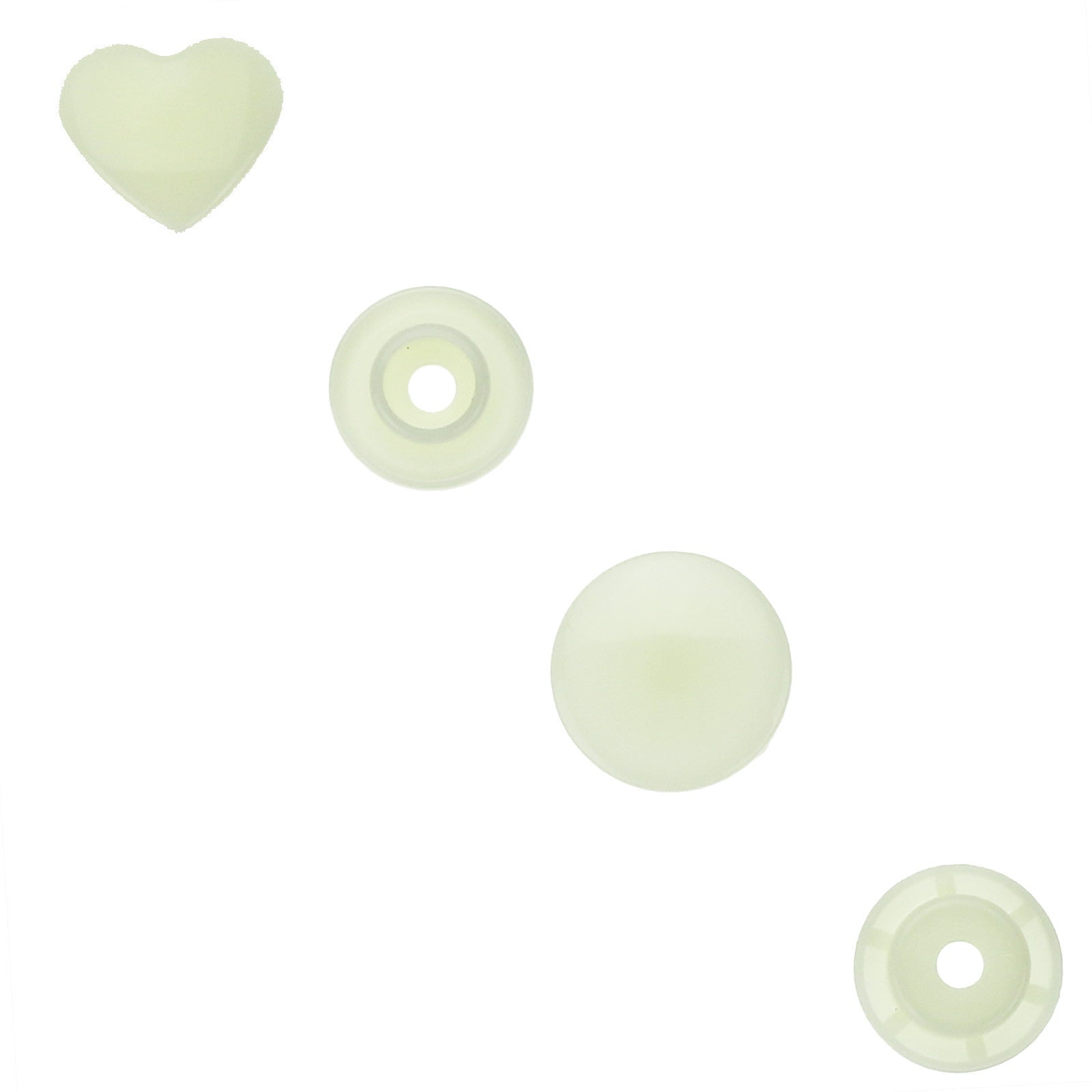 1000 Sets ~ Ivory (B22) ~ KAM Snaps Heart Shaped Size 20 Glossy