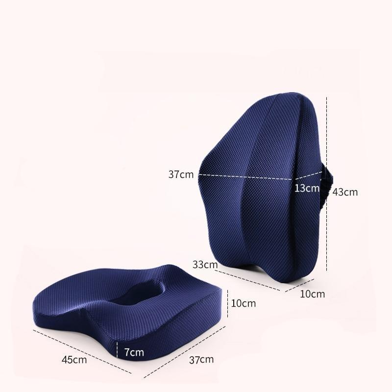 Memory Foam Seat Cushion Orthopedic Pillow Coccyx Office Chair Cushion Support Waist Back Cushion Car Seat Hip massage Pad Sets