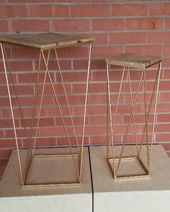 Set of 2 Square Gabriele Plant Stand Tables Geometric Wood Top w/ Gold Finish Vintage Look