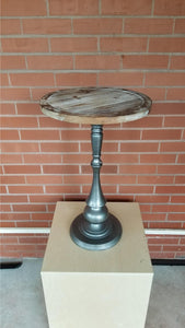 Regina Round Side Table Rustic Wood w/ Silver Metal Base