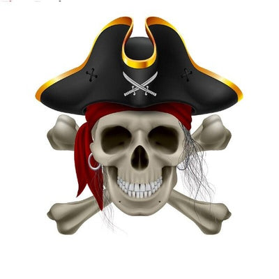 3D Pirate Skull Sticker