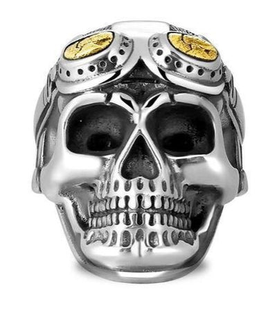 Aviator Skull Ring