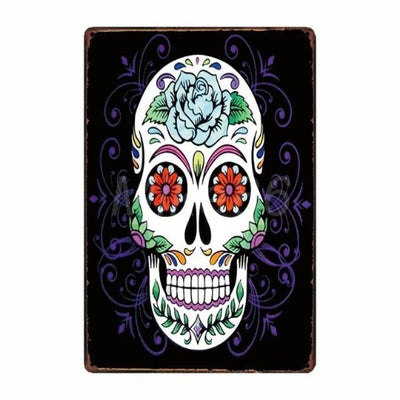 Black and Purple Skull Poster