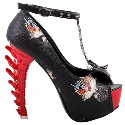 Black and Red Skull Heels
