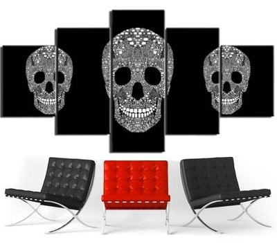 Black and Silver Skull Wall Art