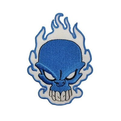 Blue Flame Skull Patch