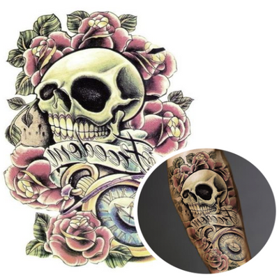 Clock and Skull Temporary Tattoo