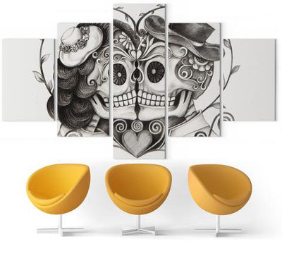 His and Hers Skull Wall Art