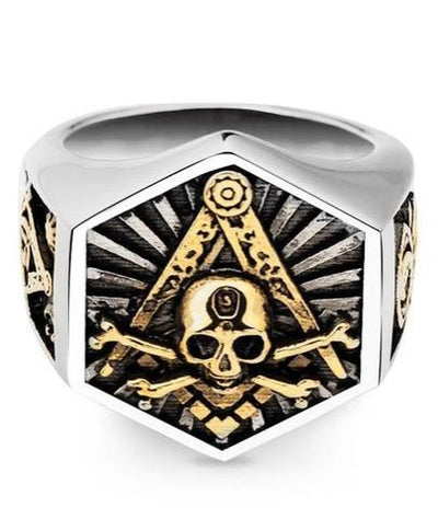 Masonic Skull and Crossbones Ring