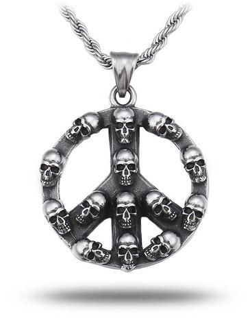 Peace Sign Skull Necklace