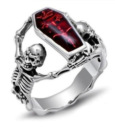 Ruby Coffin Skull Ring