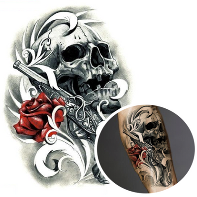 Skull and Gun Temporary Tattoo